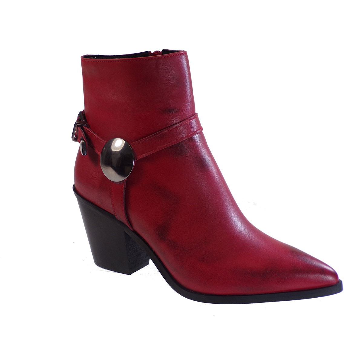 Fardoulis Shoes Γυναικεία Παπούτσια Μποτάκια K217 Κόκκινο Δέρμα
