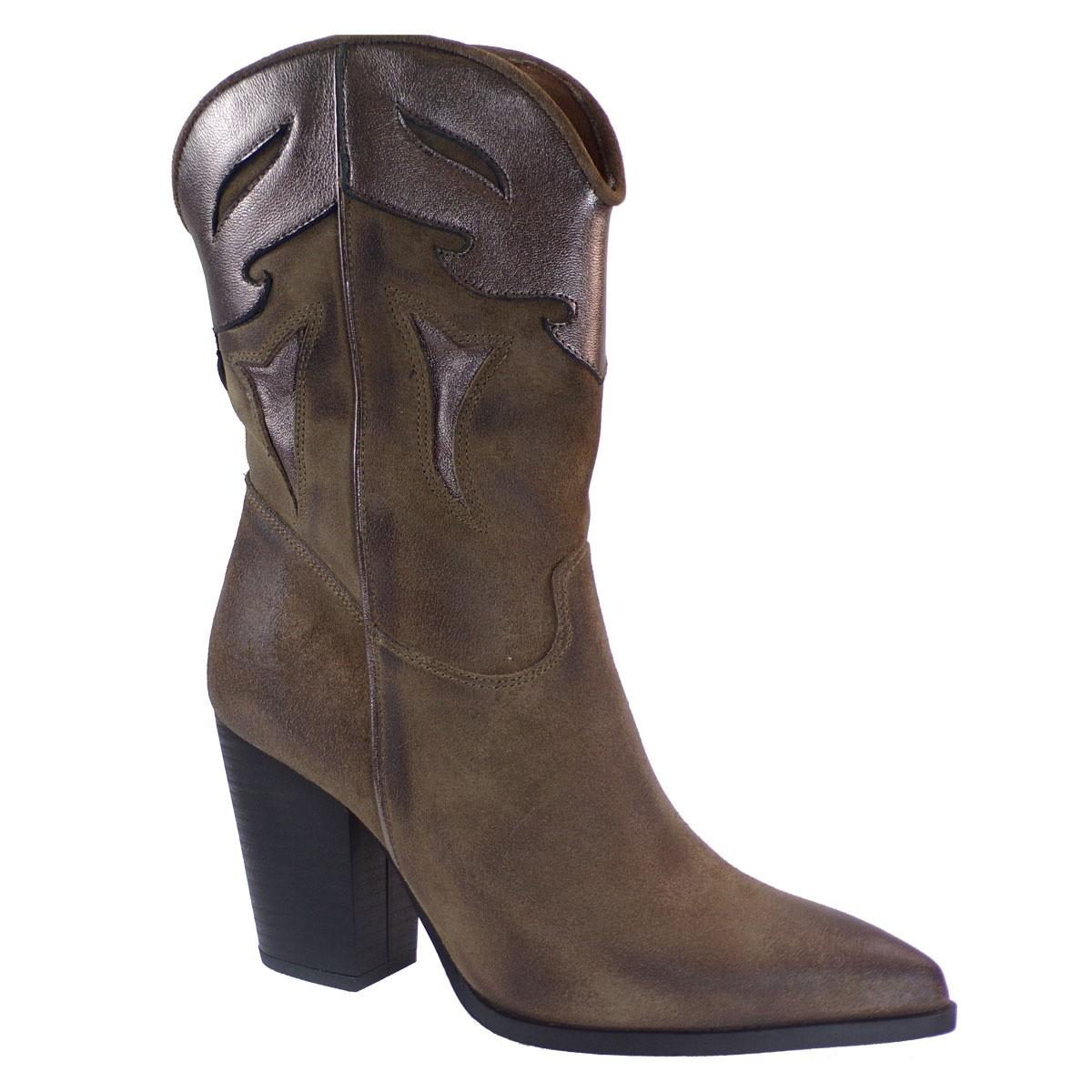 Fardoulis Shoes Γυναικεία Μπότα COW BOY Κ-351 Πούρο