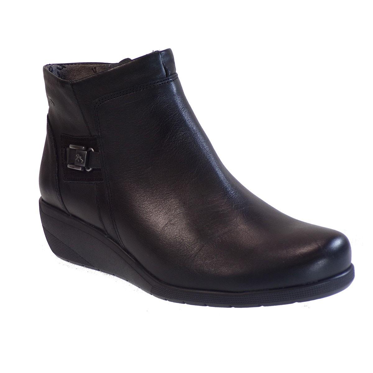 Fluchos Femme Γυναικεία Παπούτσια Μποτάκια F0595-34559 Μαύρο Δέρμα