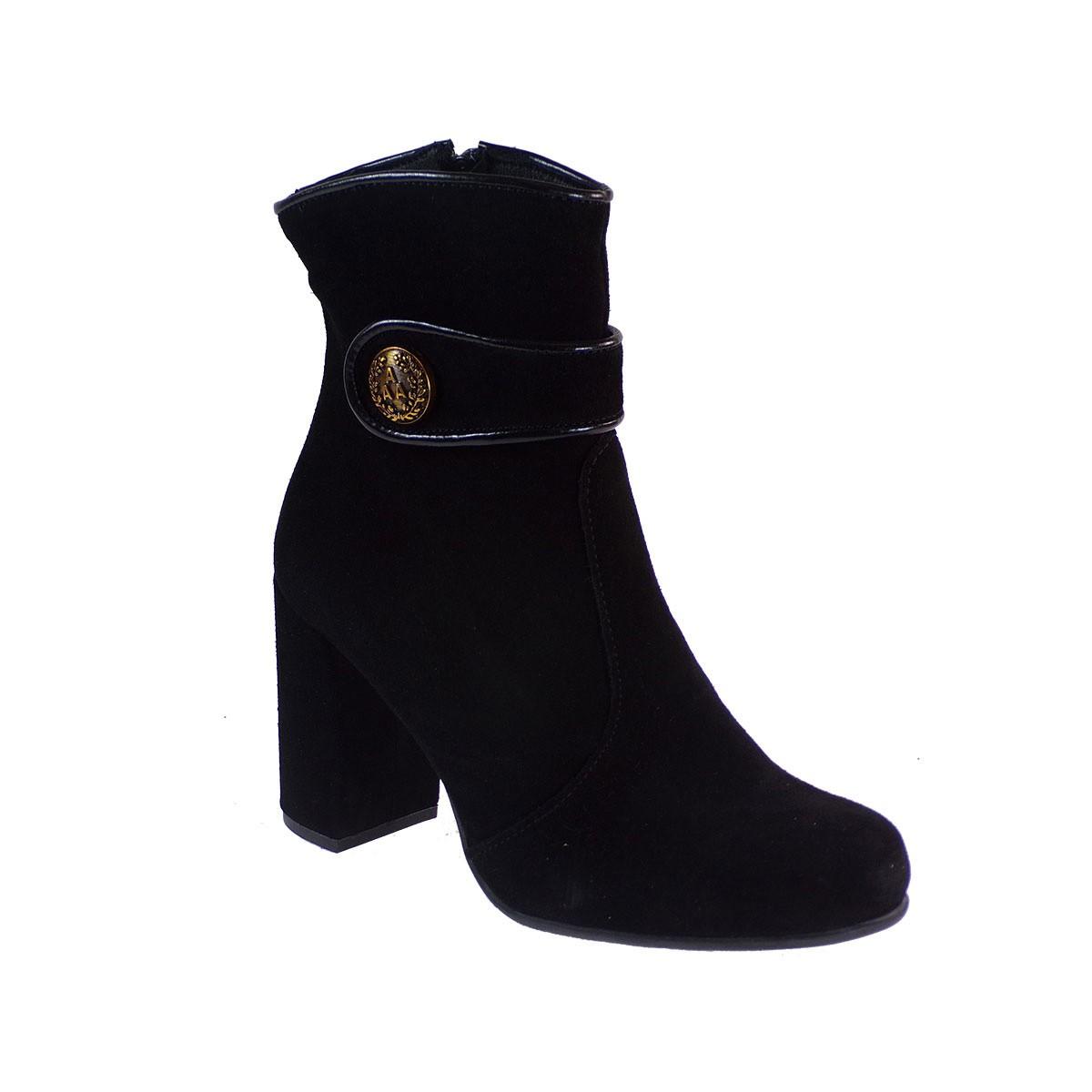 Smart Cronos Γυναικεία Παπούτσια Μποτάκια 7145-3738 Μαύρο Δέρμα Καστόρι