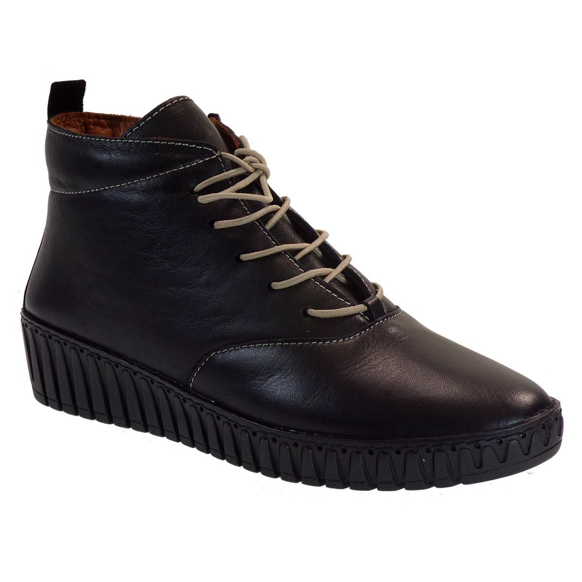 VEROSOFT Γυναικεία Παπούτσια Μποτάκια Αστραγάλου 398-405 Μαύρο Δέρμα 868291803