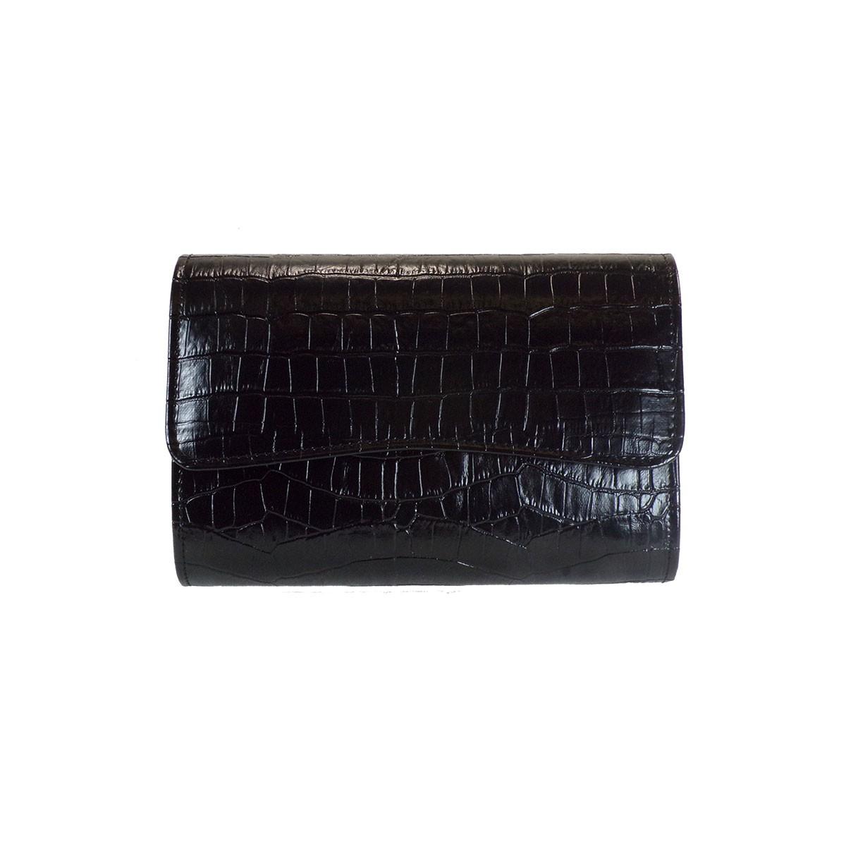 Bagiota Shoes Bags Γυναικεία Βραδινά Τσαντάκια 1016- Μαύρο Κροκό