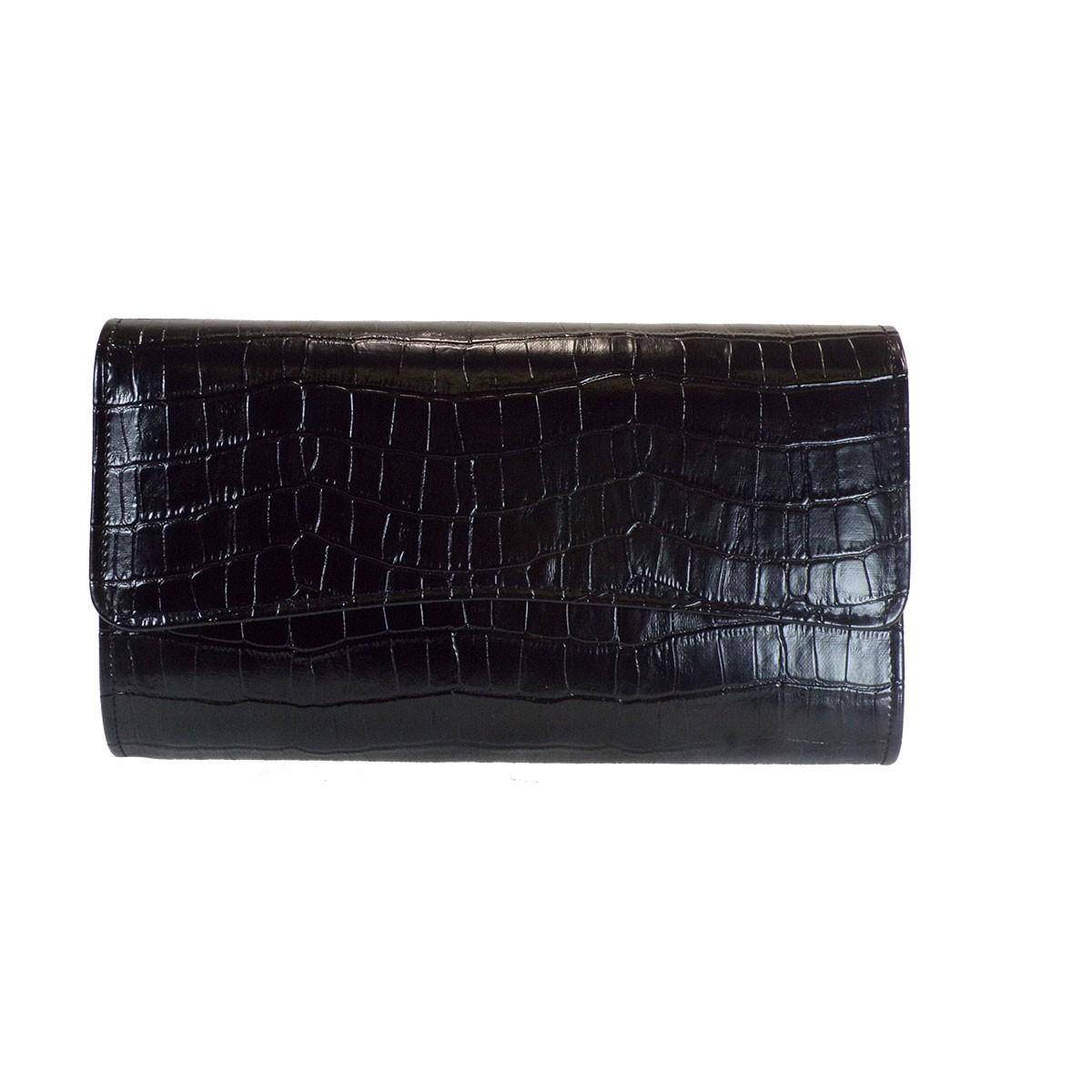 Bagiota Shoes Bags Γυναικεία Βραδινά Τσαντάκια 1017-Μαύρο Kροκό