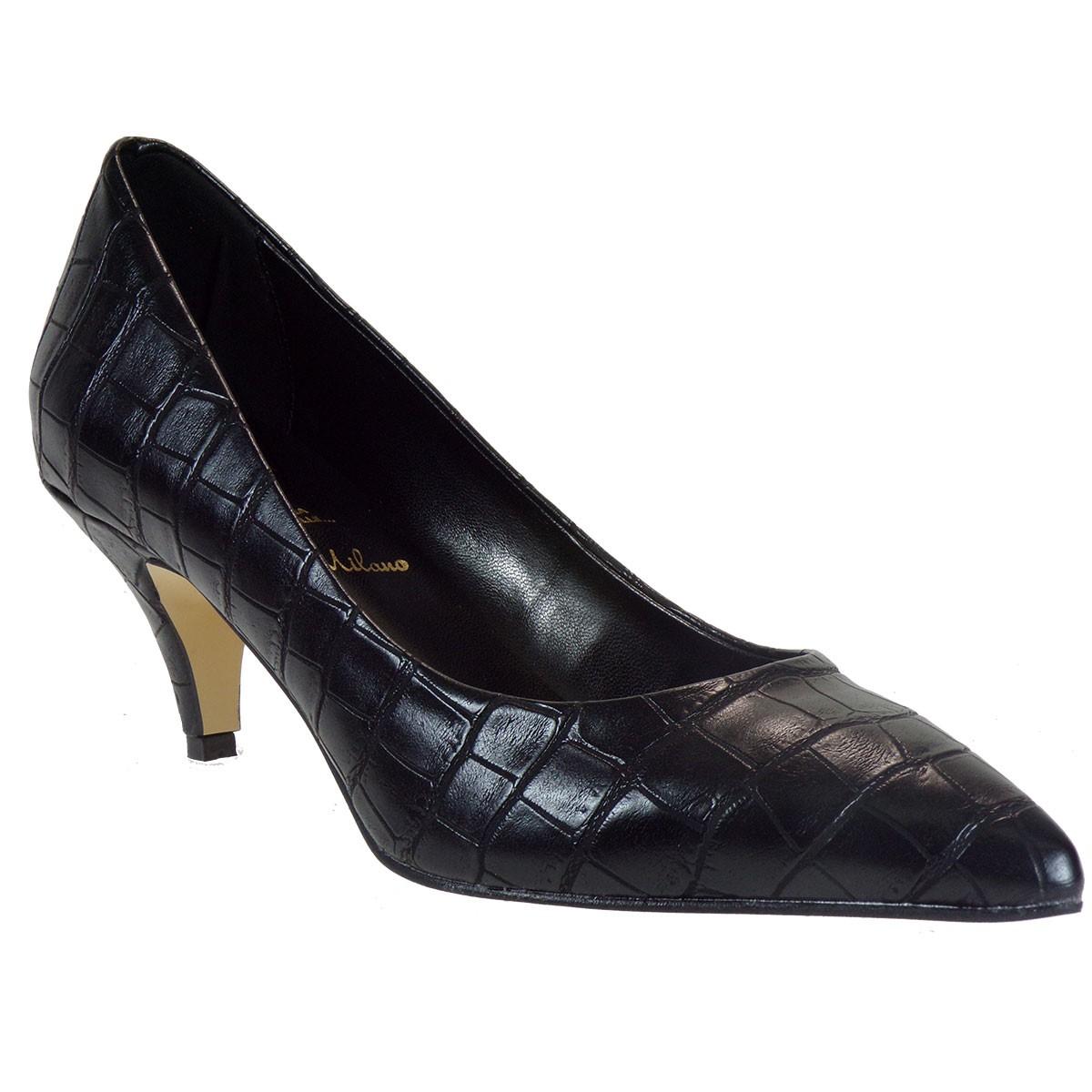 Alessandra Paggioti Γυναικεία Παπούτσια Γόβες 84001 Μαύρο Κροκό
