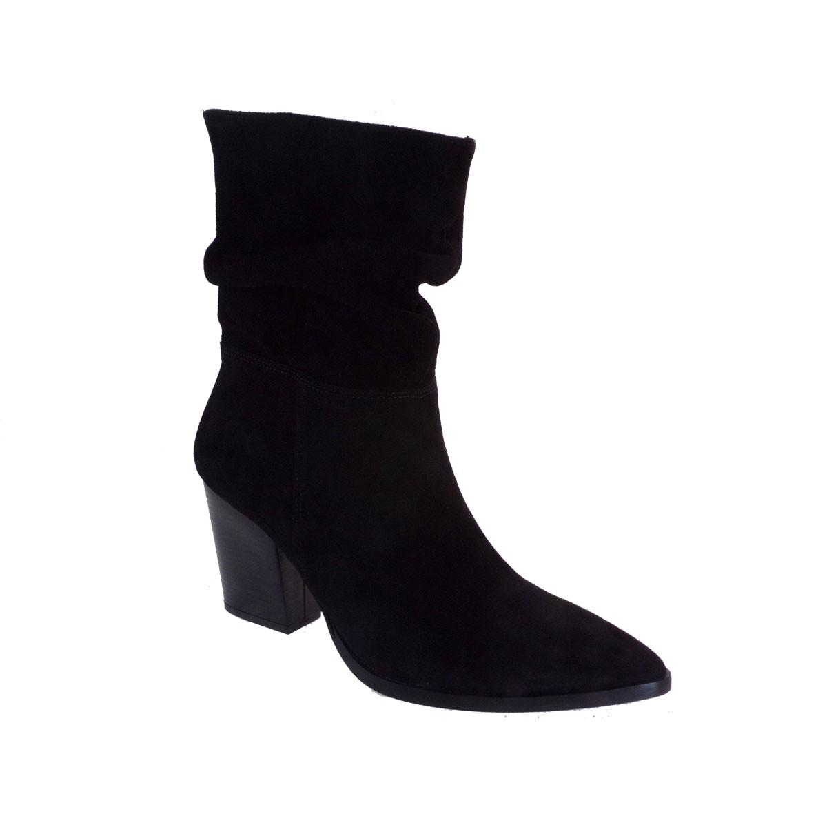 Moods Shoes Γυναικεία Μποτάκια 7524 Μαύρο Καστόρι Δέρμα