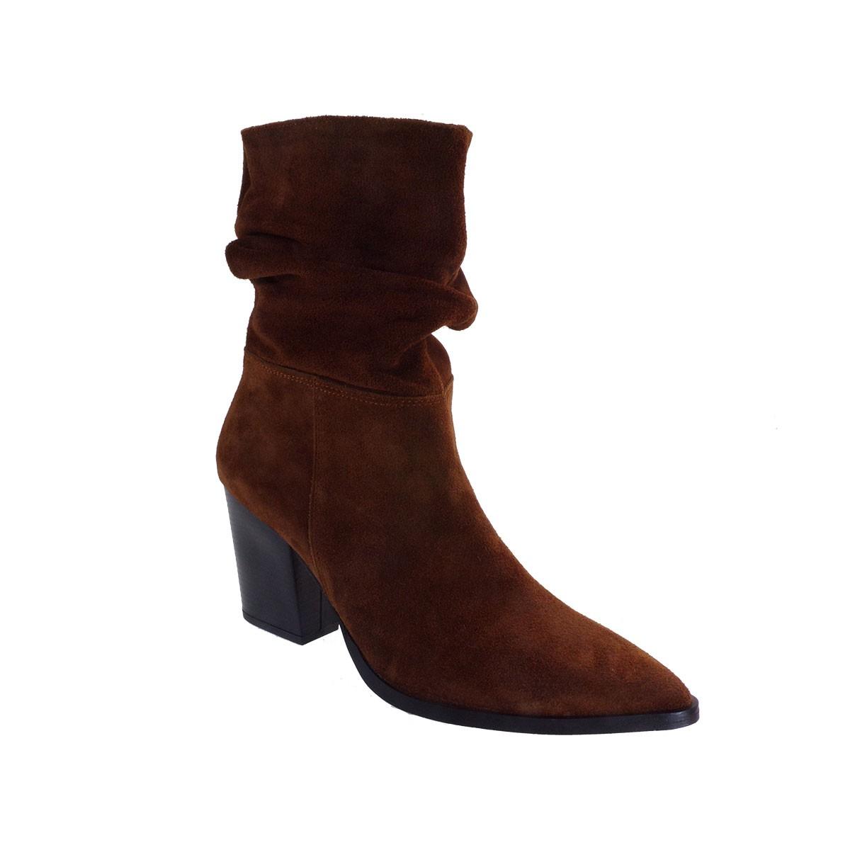 Moods Shoes Γυναικεία Μποτάκια 7524 Ταμπά Καστόρι Δέρμα