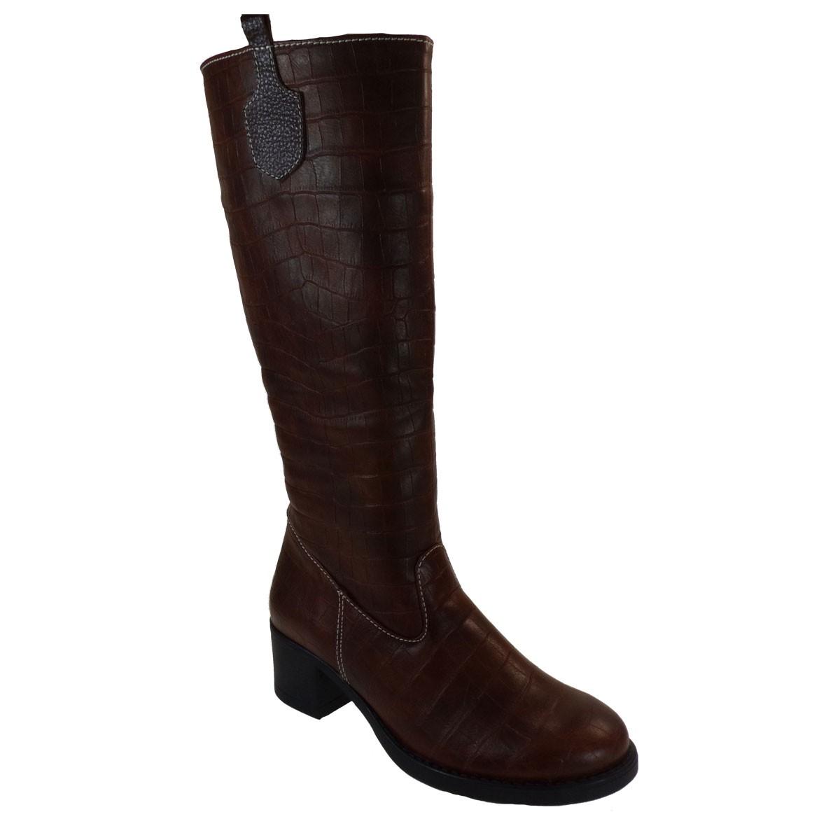 Katia shoes Γυναικεία Παπούτσια Μπότες Α73-Β Σοκολά Κροκό