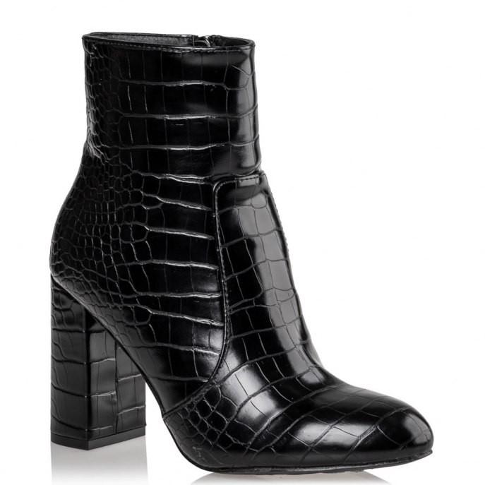 Mairiboo by Envie Shoes Γυναικεία Mποτάκια M15-10800-34 Μαύρο CROCODILIANS