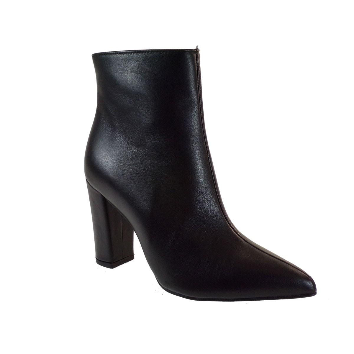 Moods Shoes Γυναικεία Μποτάκια 7010 Μαύρο Δέρμα