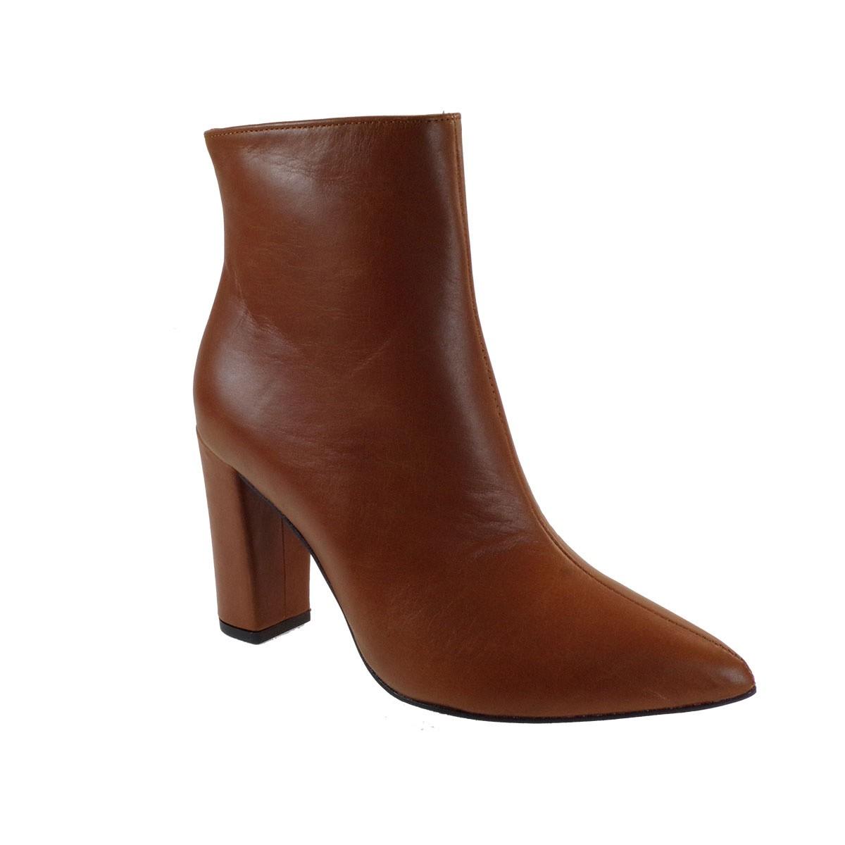 Moods Shoes Γυναικεία Μποτάκια 7010 Ταμπά Δέρμα