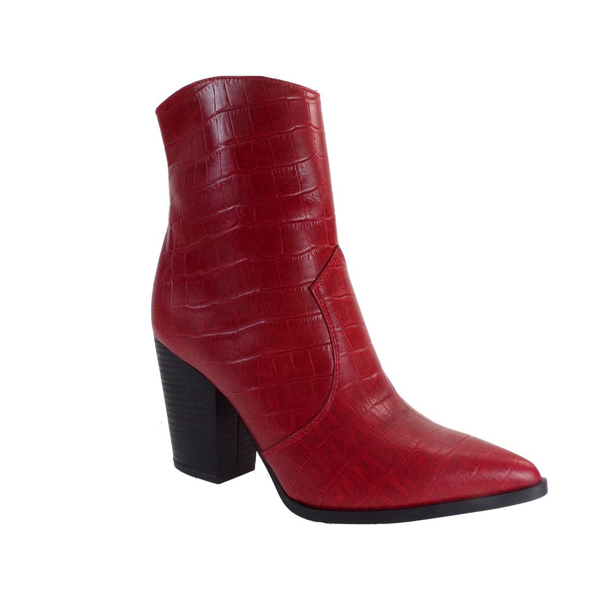 Fardoulis Shoes Γυναικεία Μποτάκια COW BOY Κ-316 Κόκκινο Δέρμα Κορκό