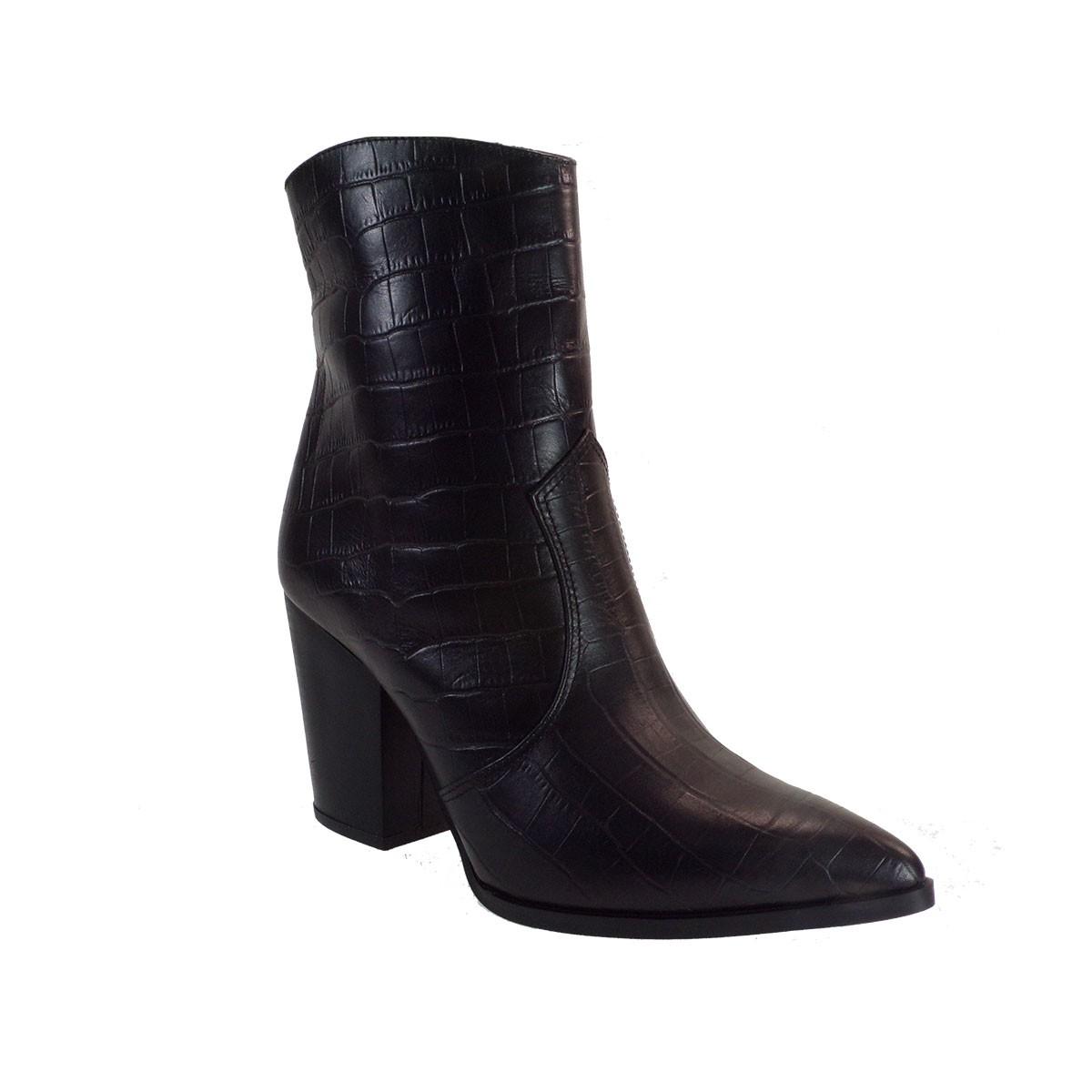 Fardoulis Shoes Γυναικεία Μποτάκια COW BOY Κ-316 Μαύρο Δέρμα Κορκό