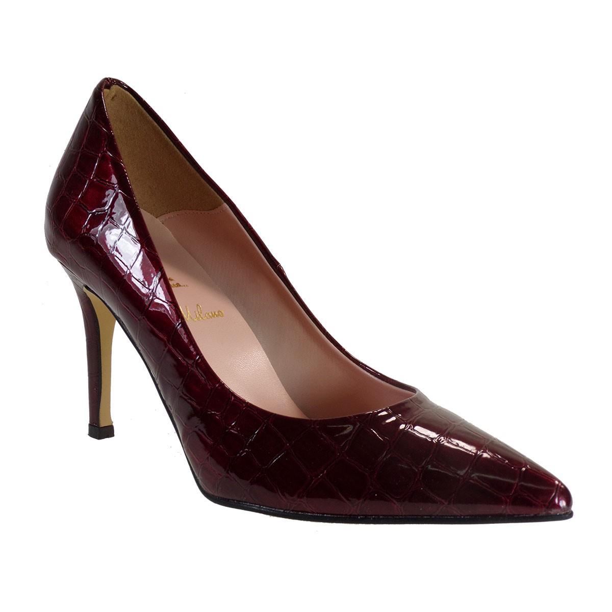 Alessandra Paggioti Γυναικεία Παπούτσια Γόβες 81001 Κόκκινο Κροκό Λουστρίνι