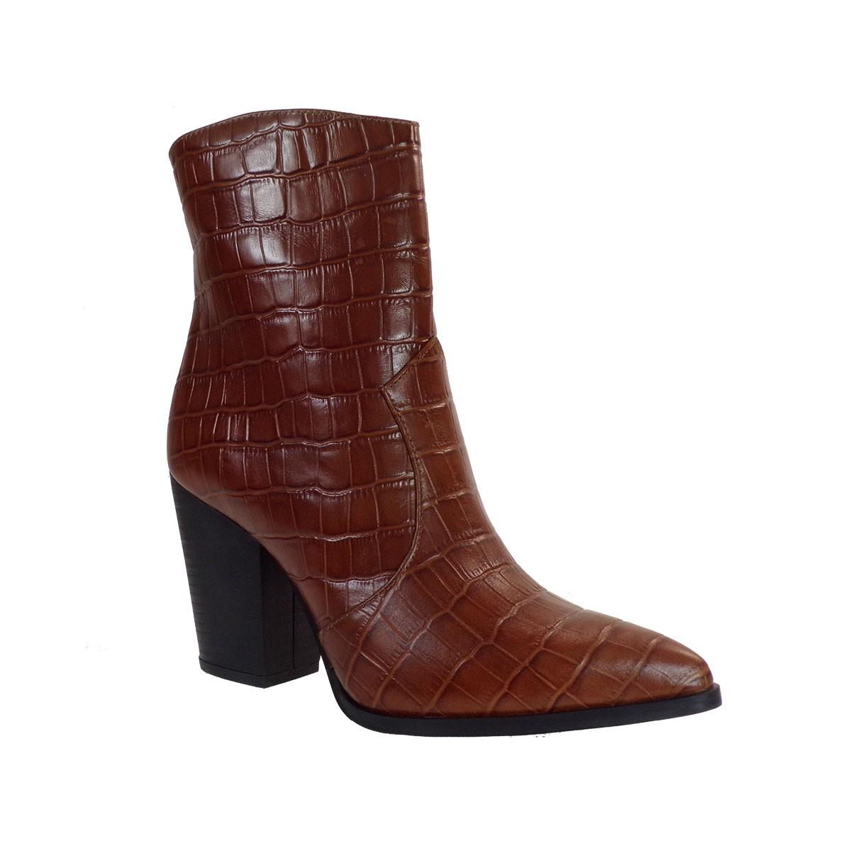 Fardoulis Shoes Γυναικεία Μποτάκια COW BOY Κ-316 Ταμπά Δέρμα Κορκό