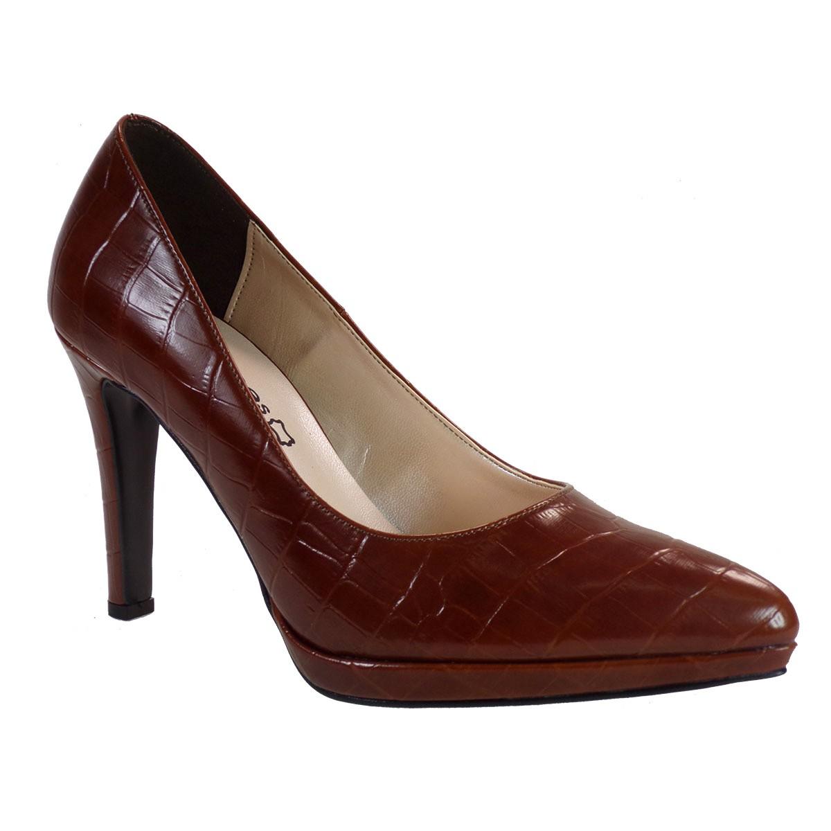 Katia Shoes Γυναικεία Παπούτσια Γόβες ΑΓΟΒΑ-1723 Ταμπά Κροκό