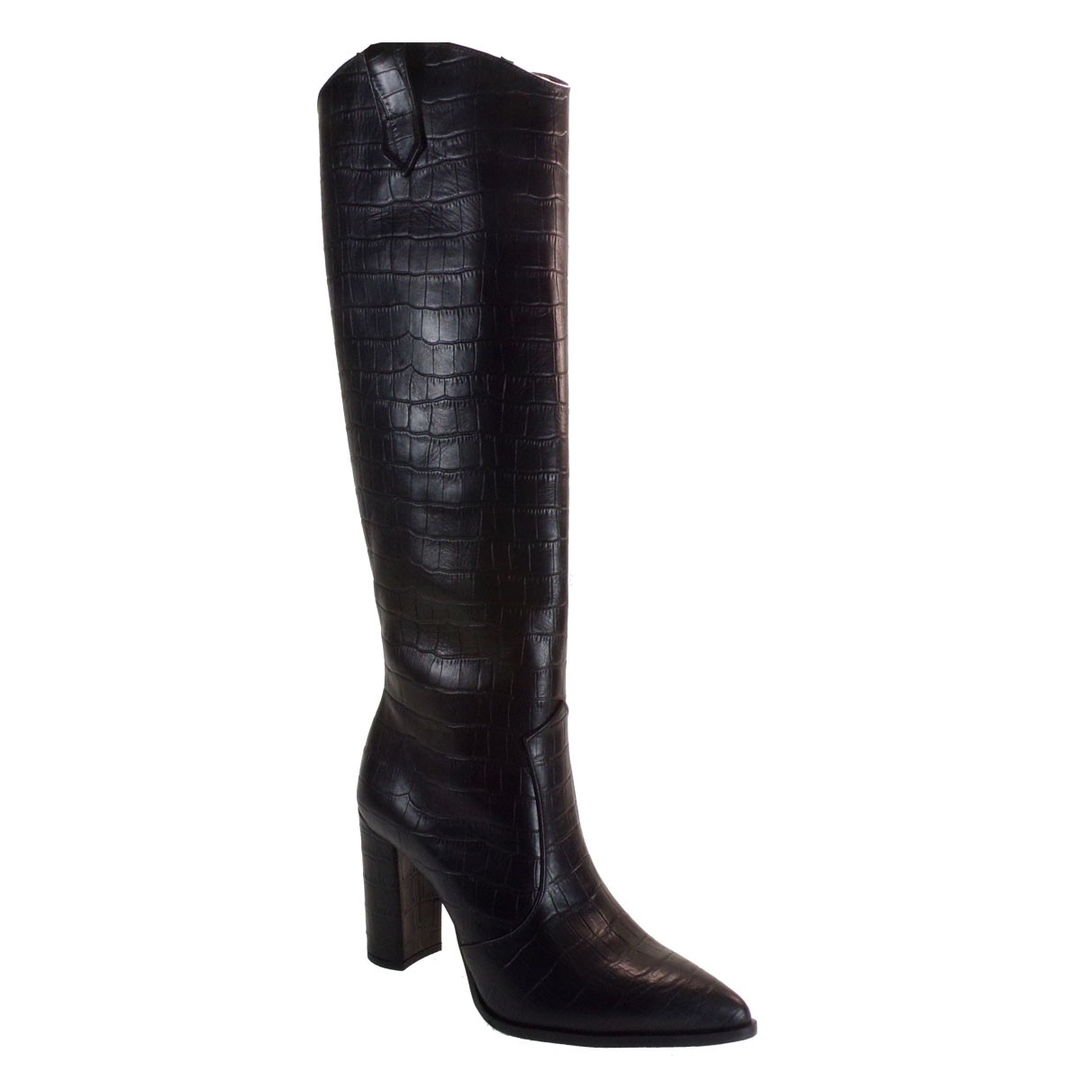 Fardoulis Shoes Γυναικεία Μπότα COW BOY 7128X Μαύρο Δέρμα KROKO