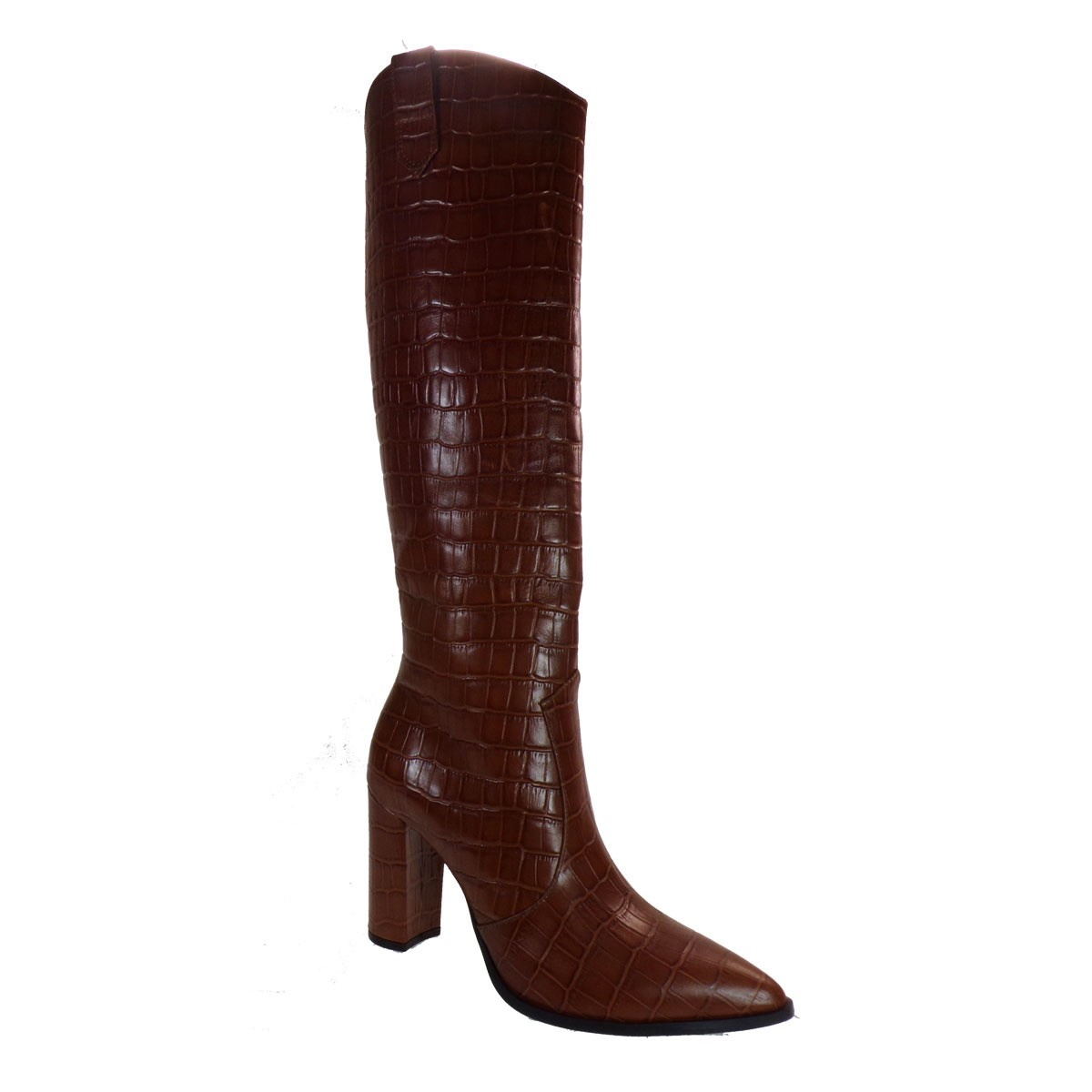 Fardoulis Shoes Γυναικεία Μπότα COW BOY 7128X Ταμπά Δέρμα KROKO