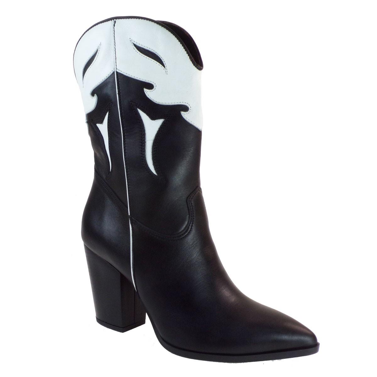 Fardoulis Shoes Γυναικεία Μπότα COW BOY Κ-351 Μαύρο Δέρμα
