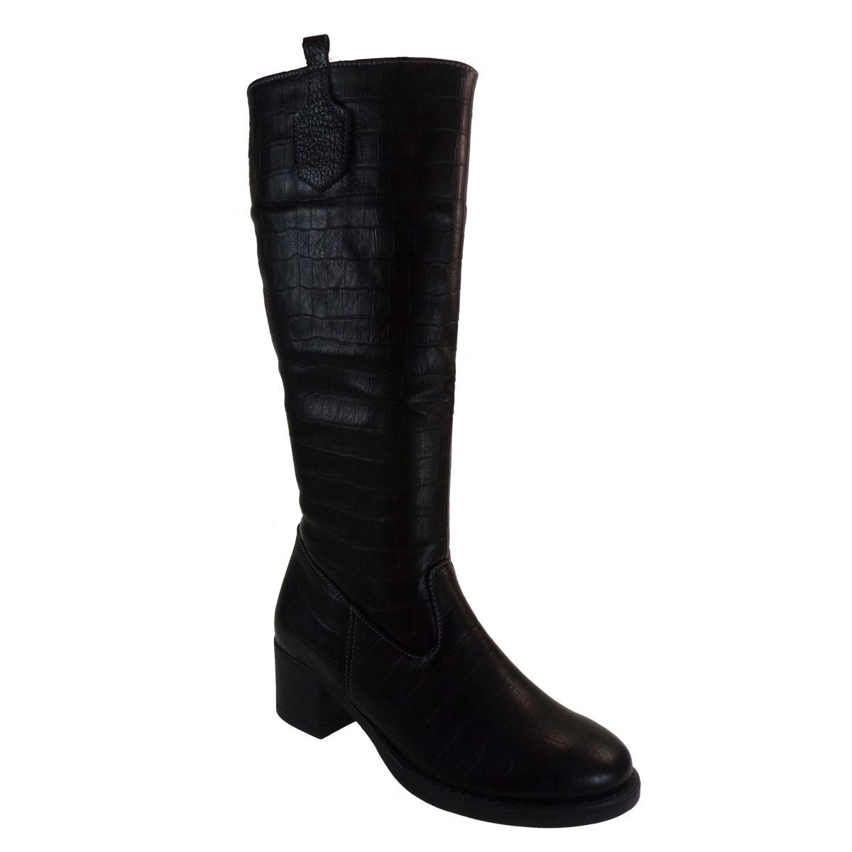 Katia shoes Γυναικεία Παπούτσια Μπότες Α73-Β Μαύρο Κροκό
