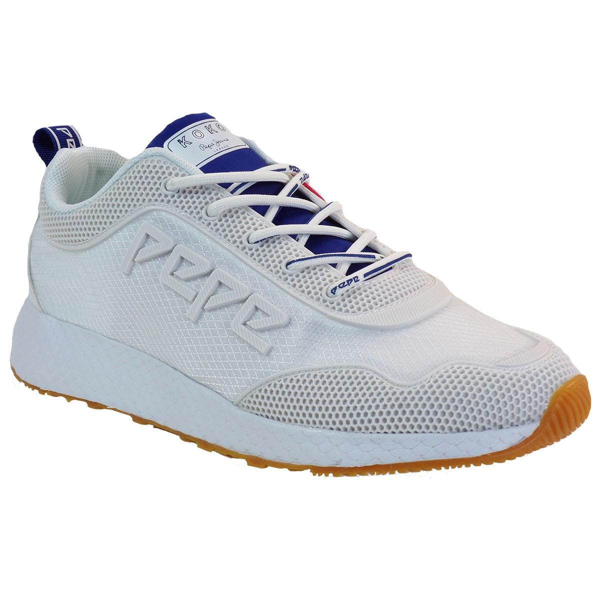 pepe jeans gynaikeia papoystia sneakers pls30998 leuko www.bagiotashoes.gr