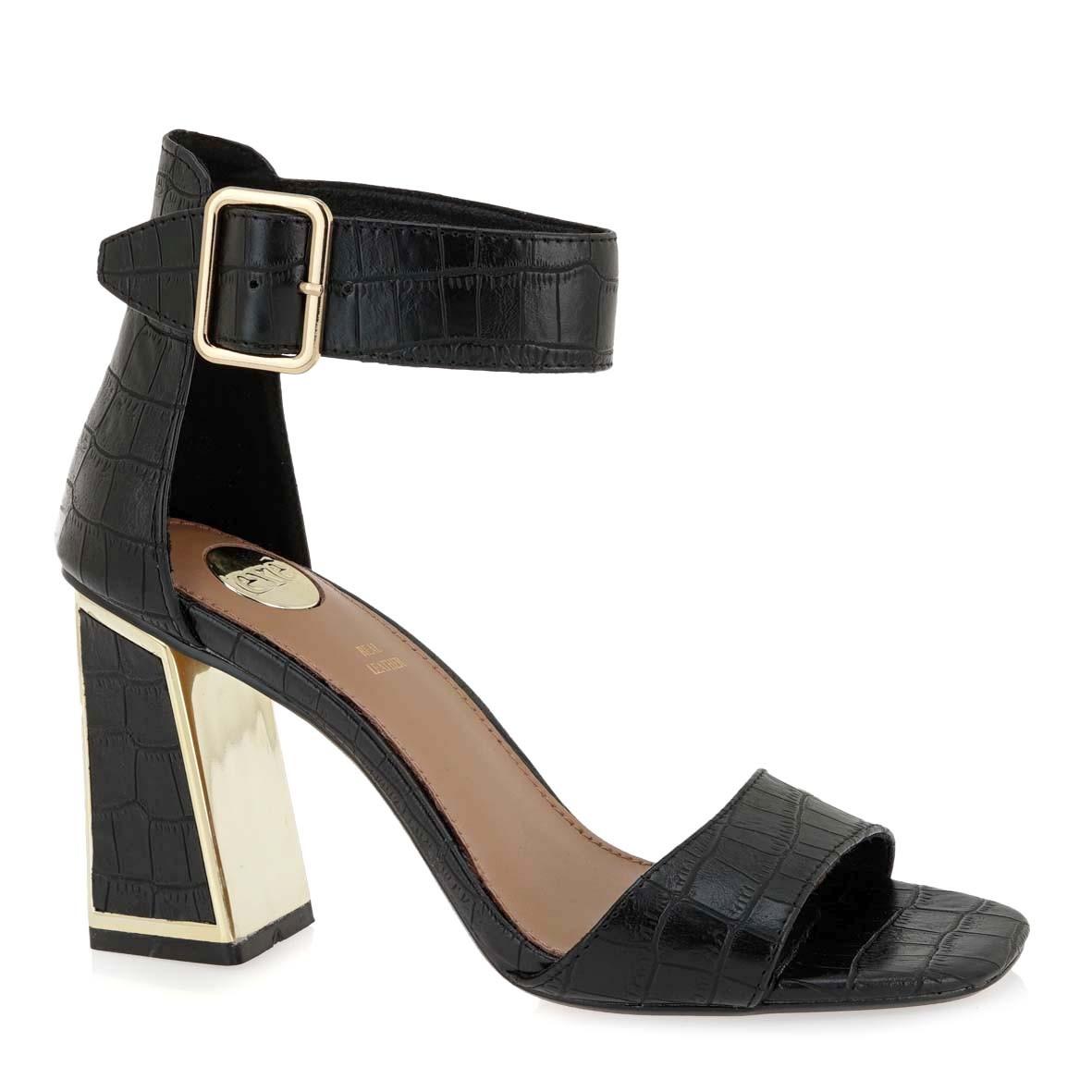 EXE Shoes Πέδιλα Γυναικεία 157-LUCIA-150 Μαύρο Κροκό K47001575024