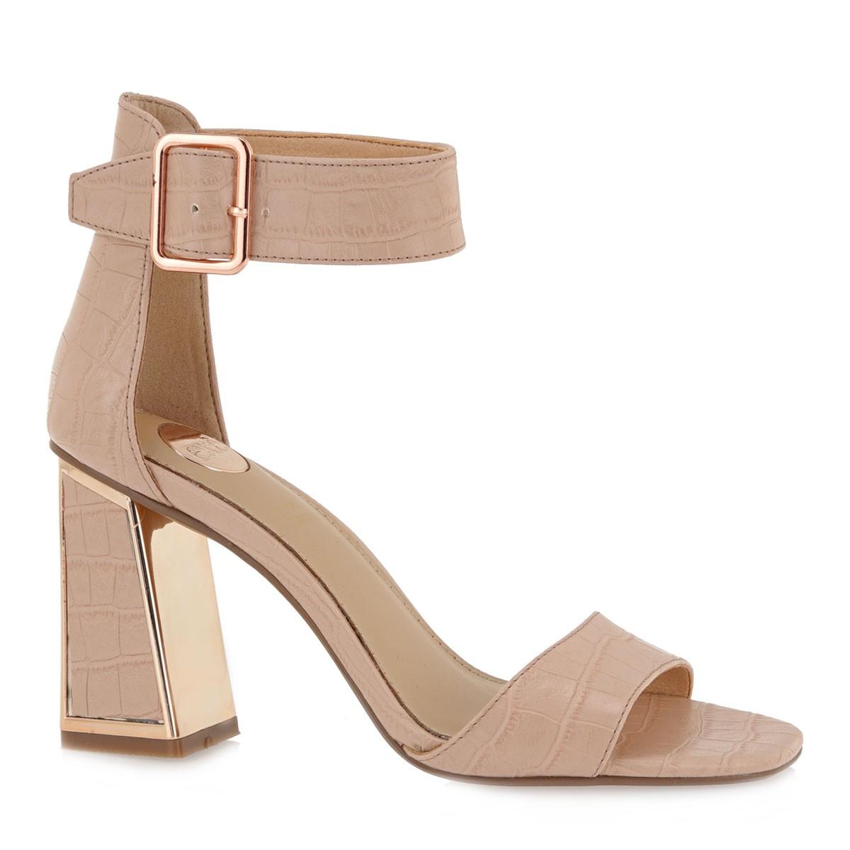 EXE Shoes Πέδιλα Γυναικεία 157-LUCIA-150 Nude Κροκό K4700157574D