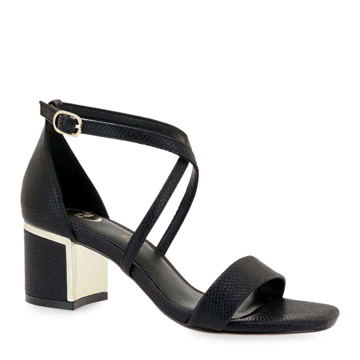 EXE Shoes Πέδιλα Γυναικεία ISABEL-560 Μαύρο Φίδι K47005603006