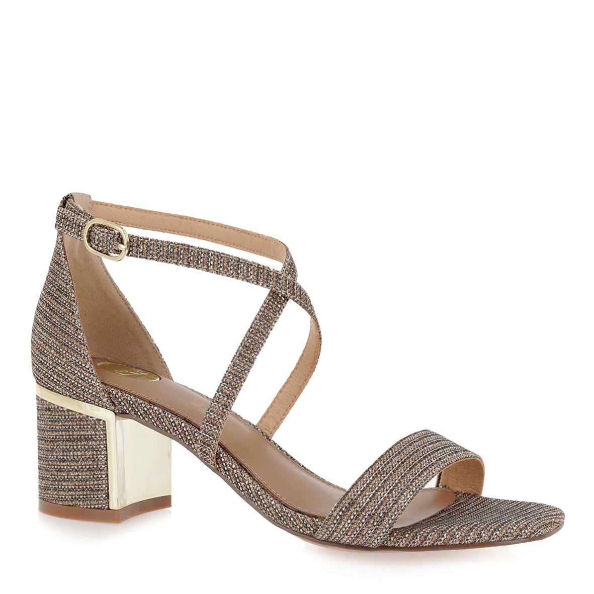EXE Shoes Πέδιλα Γυναικεία ISABEL-560 Ρόζ Χρυσό Glitter K4700560376S