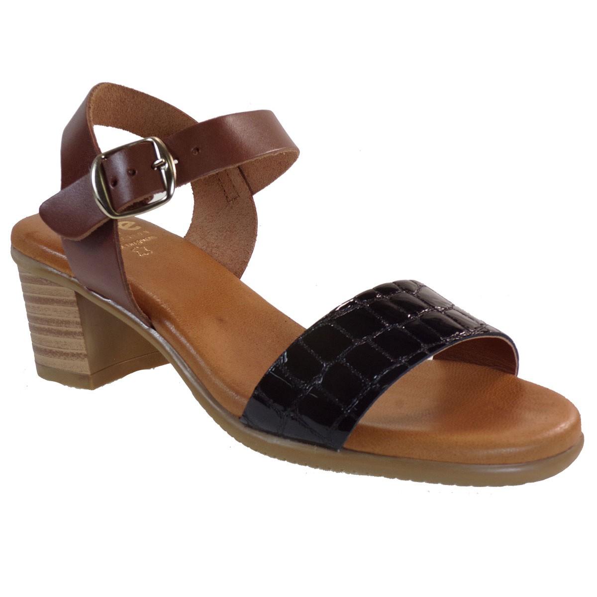 ette Shoes Γυναικεία Πέδιλα Δερμάτινα 660-GINA Μαύρο