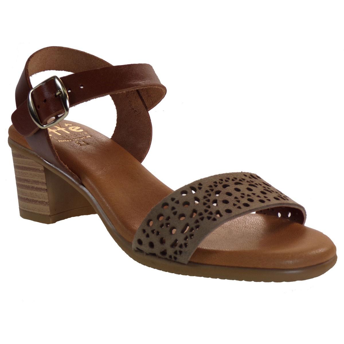 ette Shoes Γυναικεία Πέδιλα Δερμάτινα 661-GRACE Πούρο