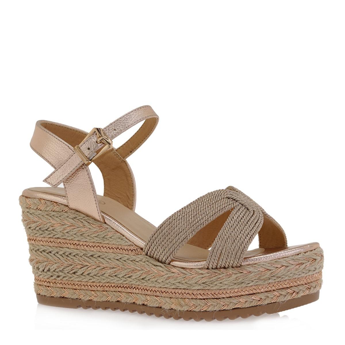 EXE Shoes Γυναικεία Πέδιλα Πλατφόρμες 220 Ροζ Χρυσό K468Q220762F