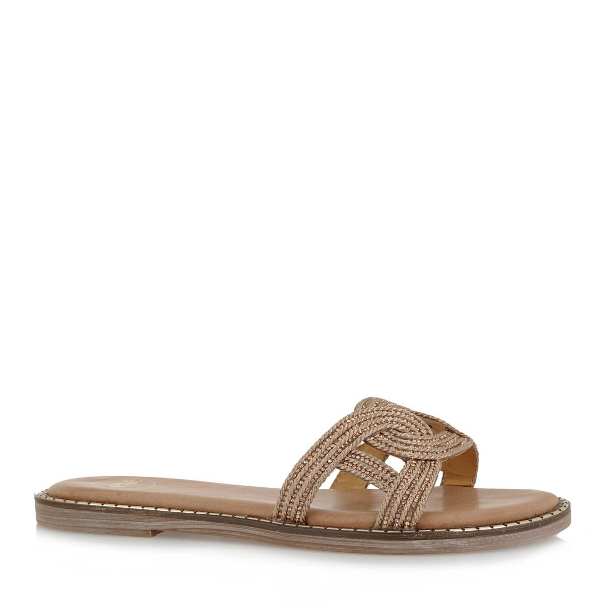 EXE Shoes Γυναικείες Παντόφλες ALLISON-139 Χρυσό Πλεκτό K4700139176M