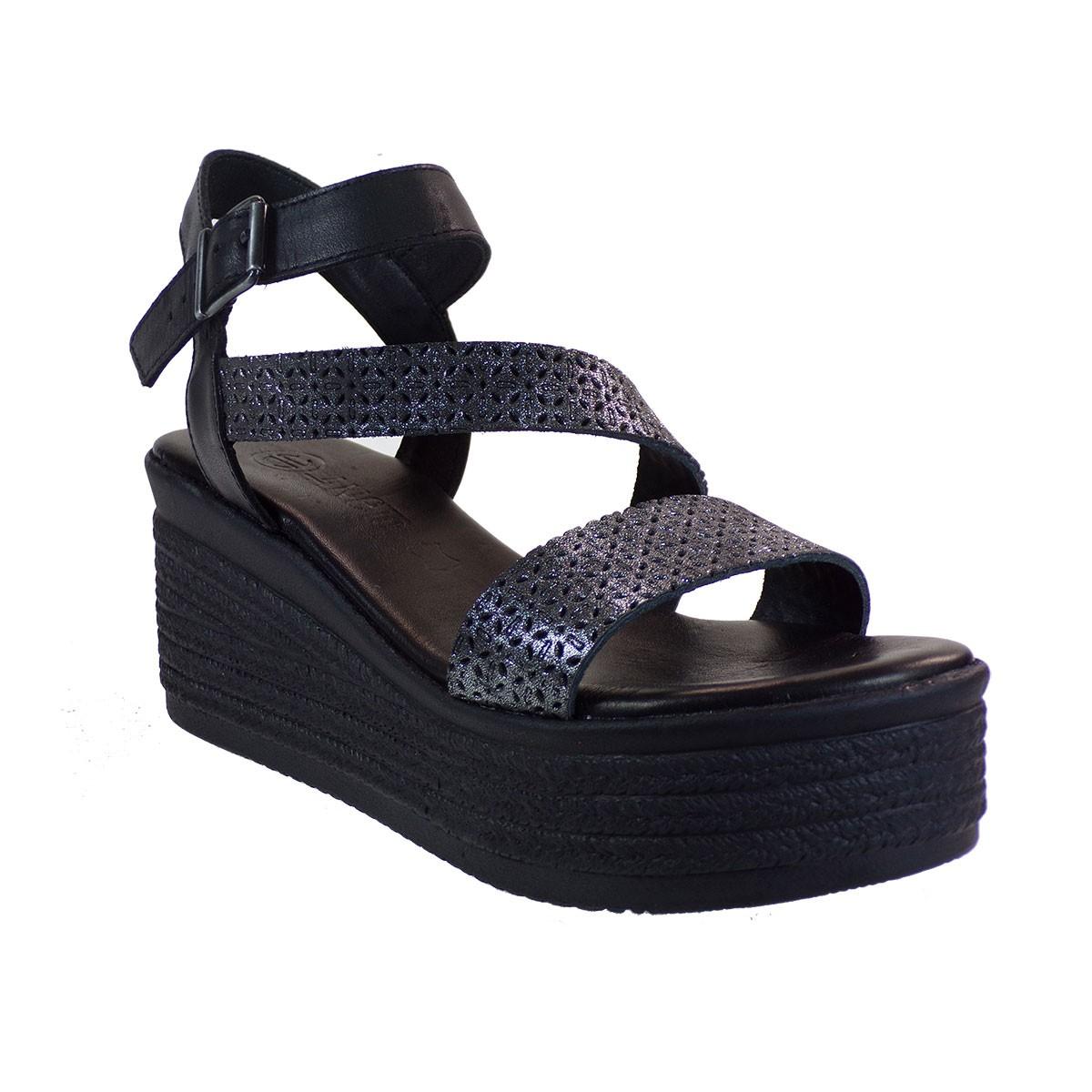 Katia Shoes Γυναικεία Πέδιλα Πλατφόρμες Κ139-1103 Ασταλί-Μαύρο Δέρμα