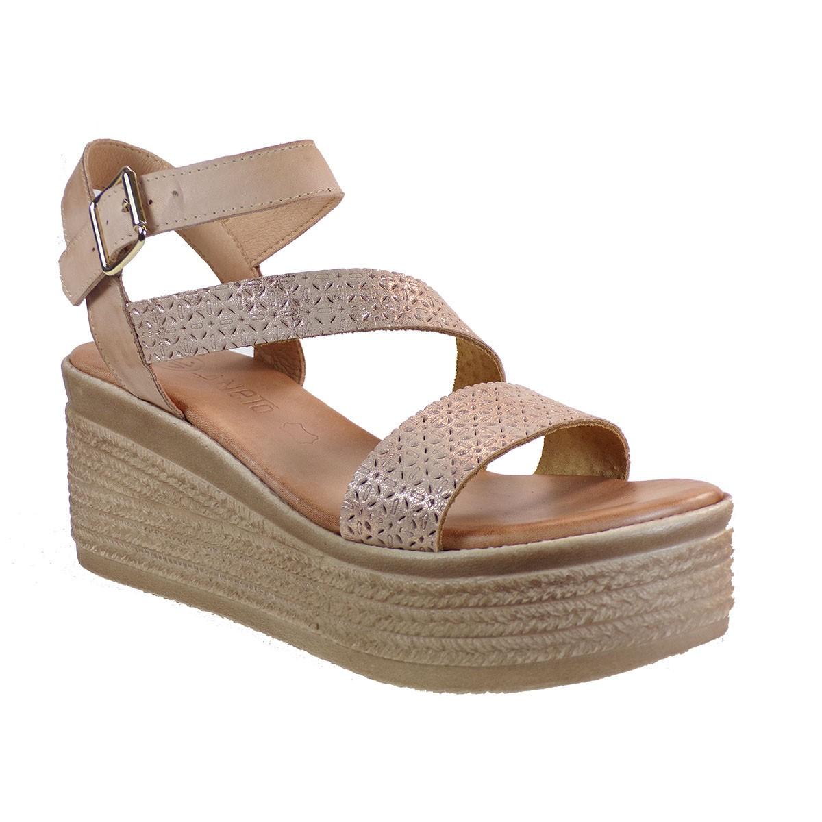 Katia Shoes Γυναικεία Πέδιλα Πλατφόρμες Κ139-1103 Χαλκός-Πούδρα Δέρμα