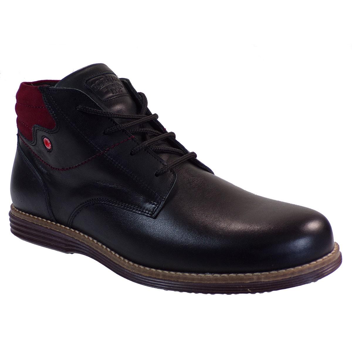 Robinson Ανδρικά Παπούτσια Μποτάκια 2021 Μαύρο Δέρμα