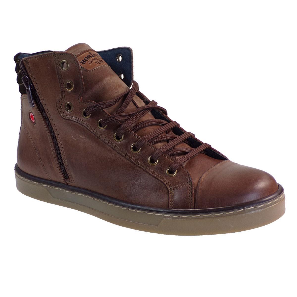 Robinson Ανδρικά Παπούτσια Μποτάκια Sneakers 2313 Καφέ Δέρμα