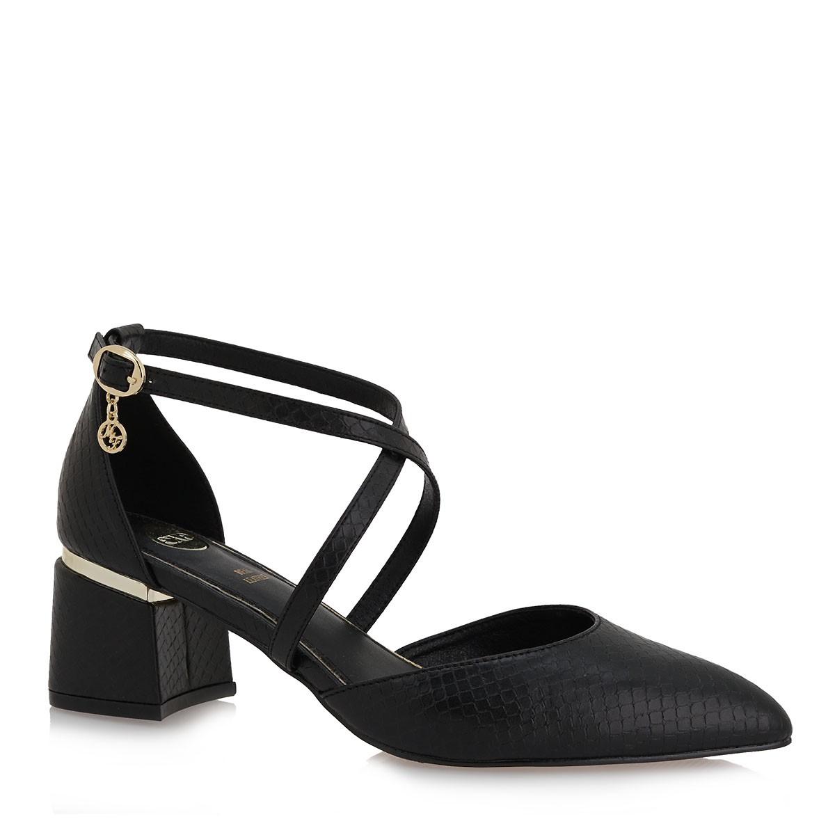 Exe Shoes Γυναικείες Γόβες 051-700 RIMINI-510 Μαύρο Φίδι L17000513006