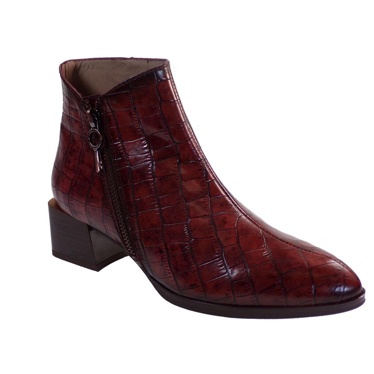 Hispanitas Γυναικεία Παπούτσια Mποτάκια HI00522 Μπορντώ Δέρμα