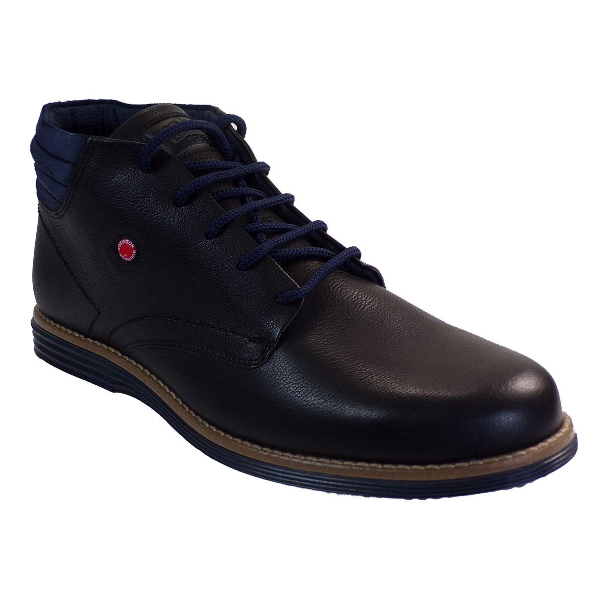 Robinson Ανδρικά Παπούτσια Μποτάκια 2091 Μαύρο Δέρμα