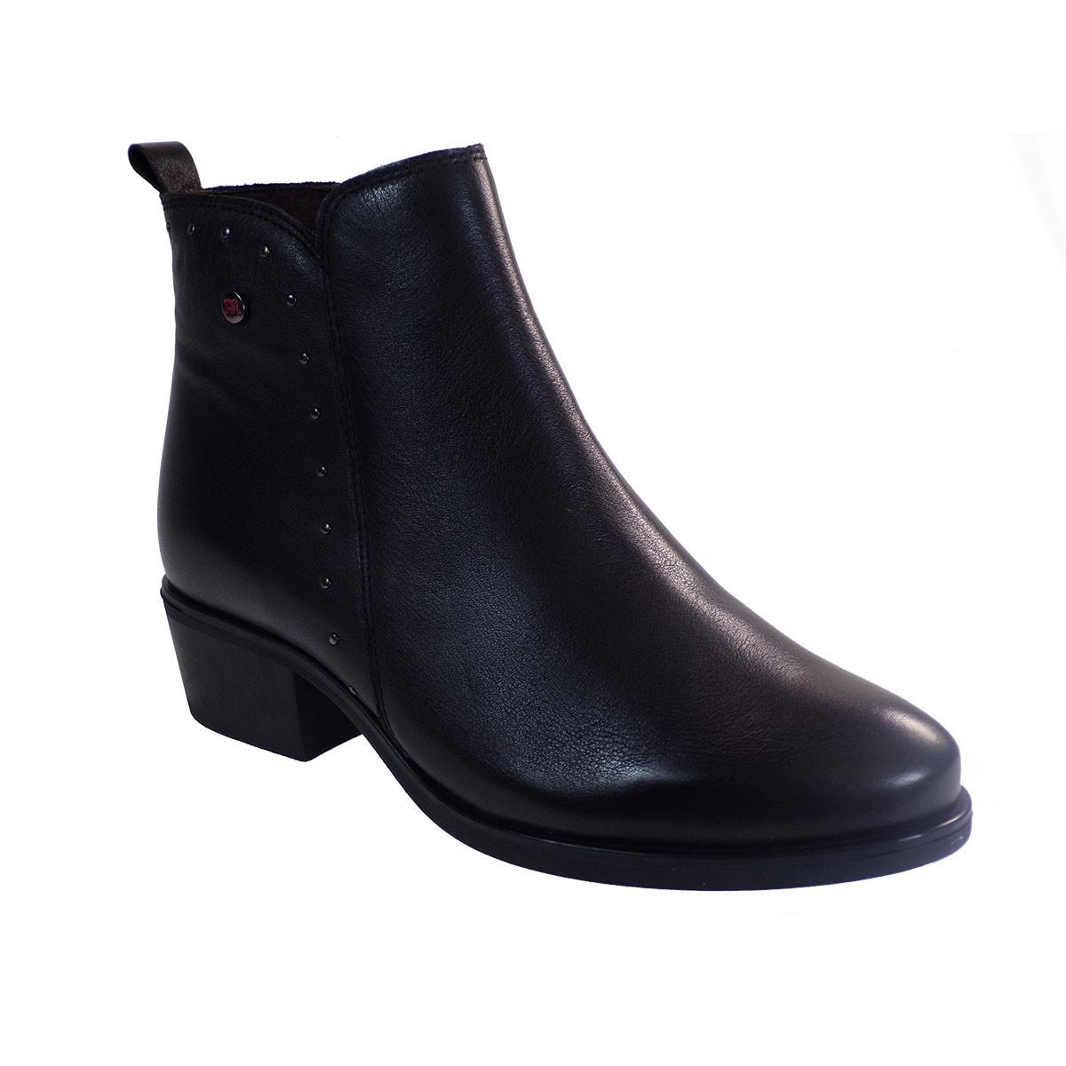 PEPE MENARGUES SHOES Γυναικεία Παπούτσια Μποτάκια 20401 Μαύρο Δέρμα