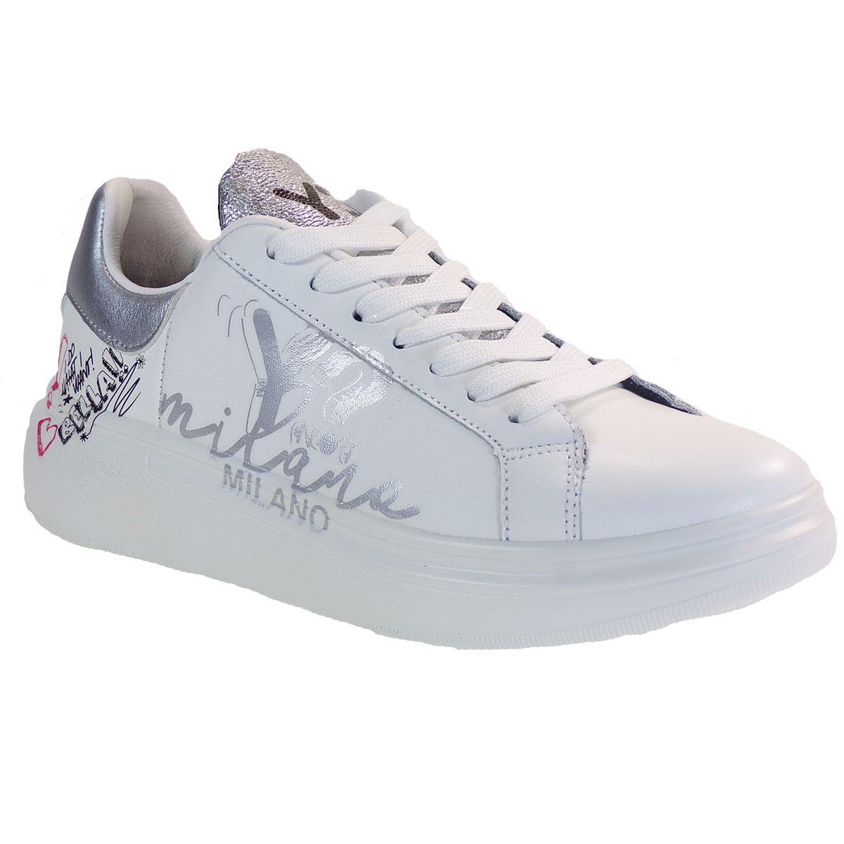 YNOT Sneakers Γυναικεία Παπούτσια YNIO400 Λευκό-Ασημί