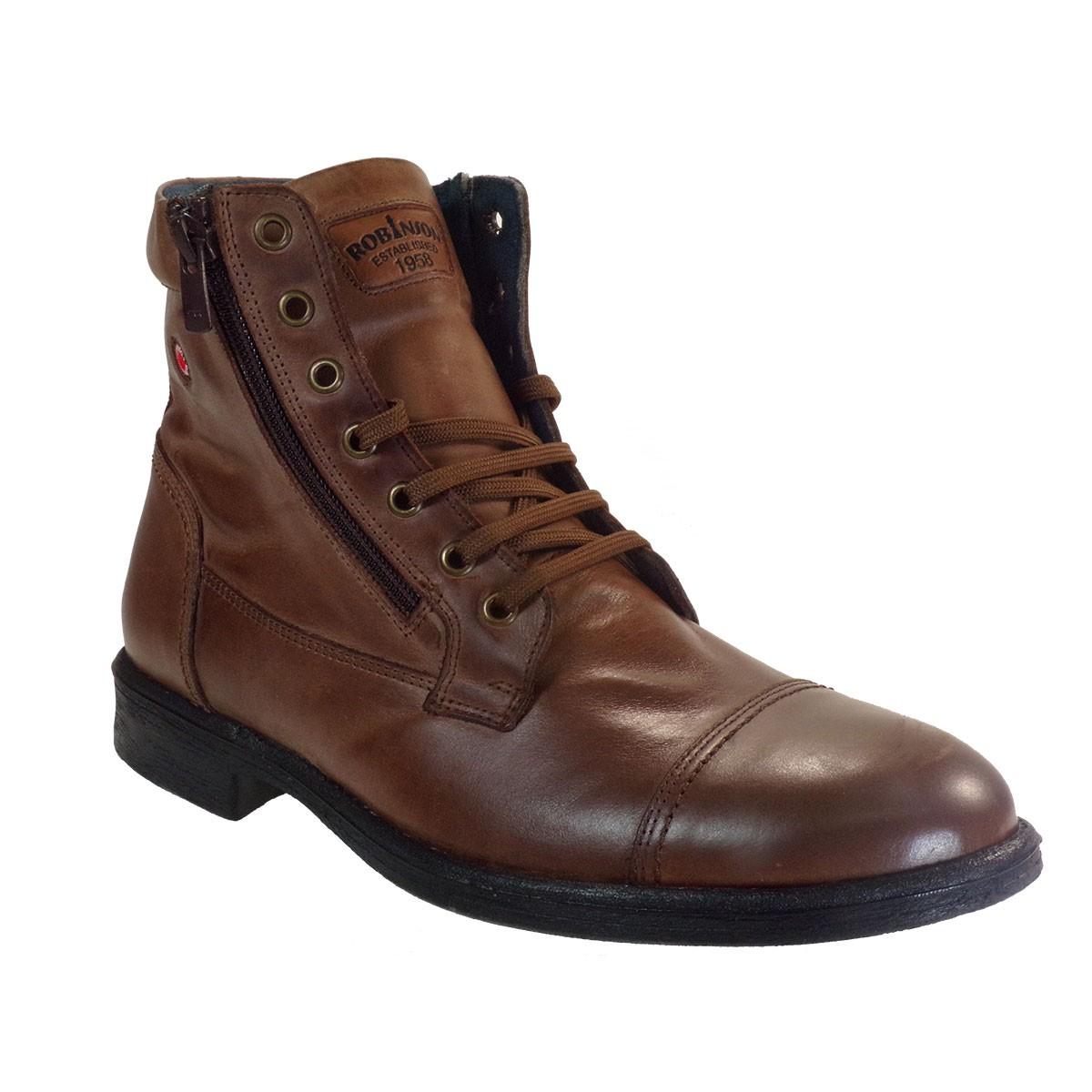 Robinson Ανδρικά Παπούτσια Μποτάκια Αρβυλάκια 2553 Καφέ Δέρμα