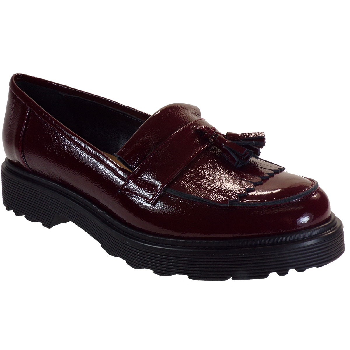 Fardoulis Shoes Γυναικεία Παπούτσια Μοκασίνι 3804 Μπορντώ Δέρμα Λουστρίνι