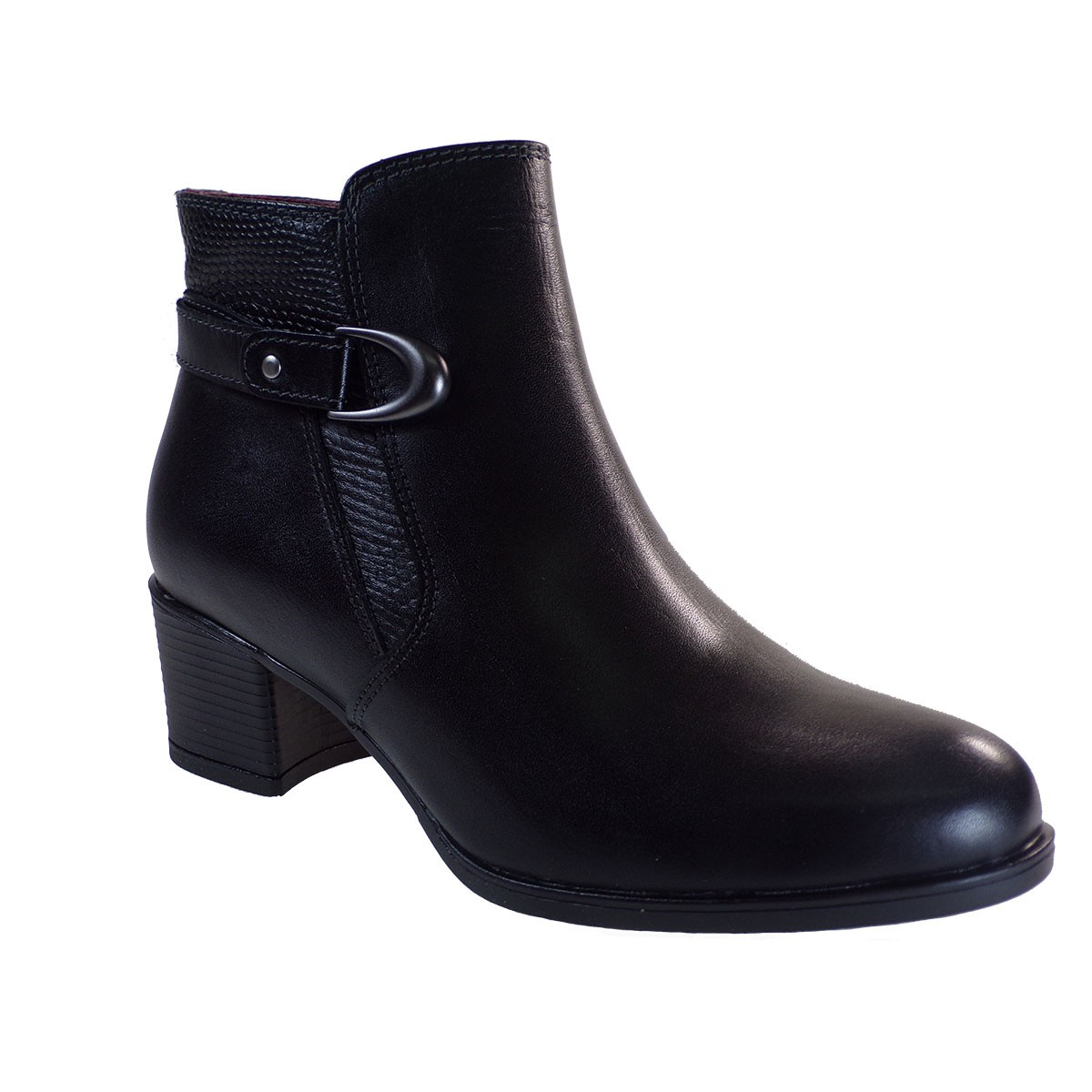 Softies Shoes Γυναικείες Μποτάκια 7231 Μαύρο Δέρμα