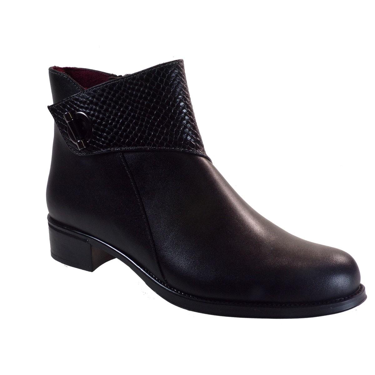 Softies Shoes Γυναικείες Μποτάκια 7250 Μαύρο Δέρμα