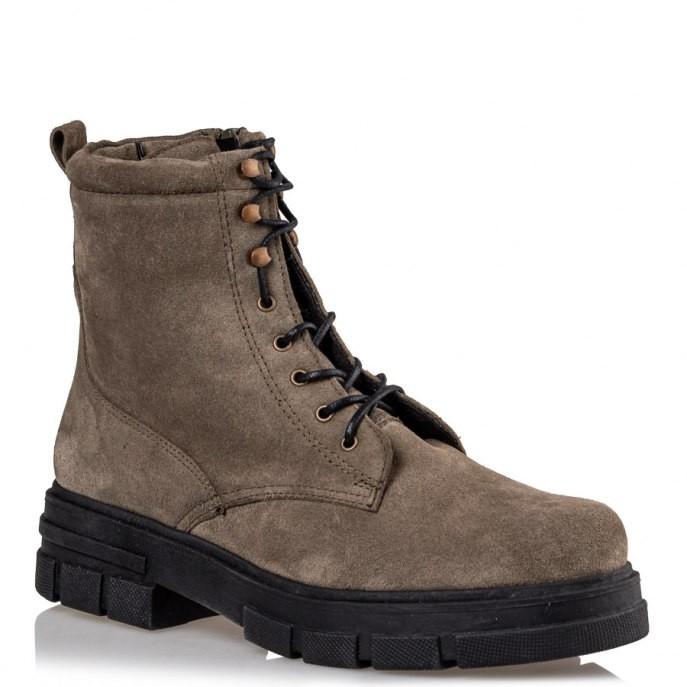 Envie Shoes Γυναικεία Μποτάκια Αρβυλάκια Ε02-12220-57 Χακί Δέρμα Καστόρι