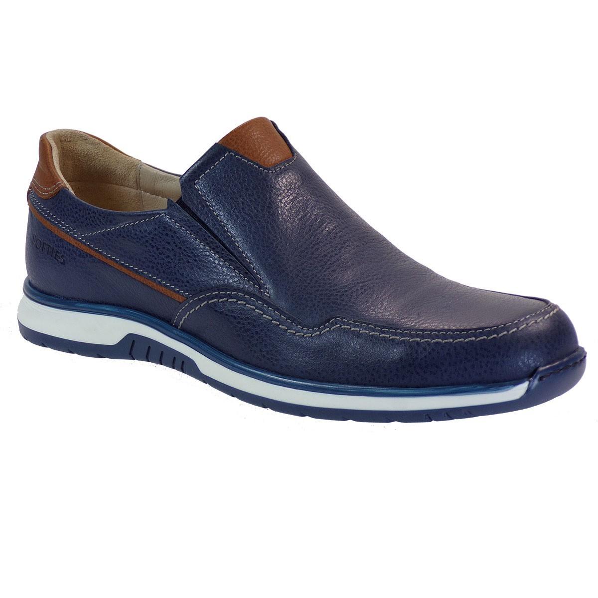 Softies Ανδρικά Παπούτσια 6111 Μπλέ Δέρμα