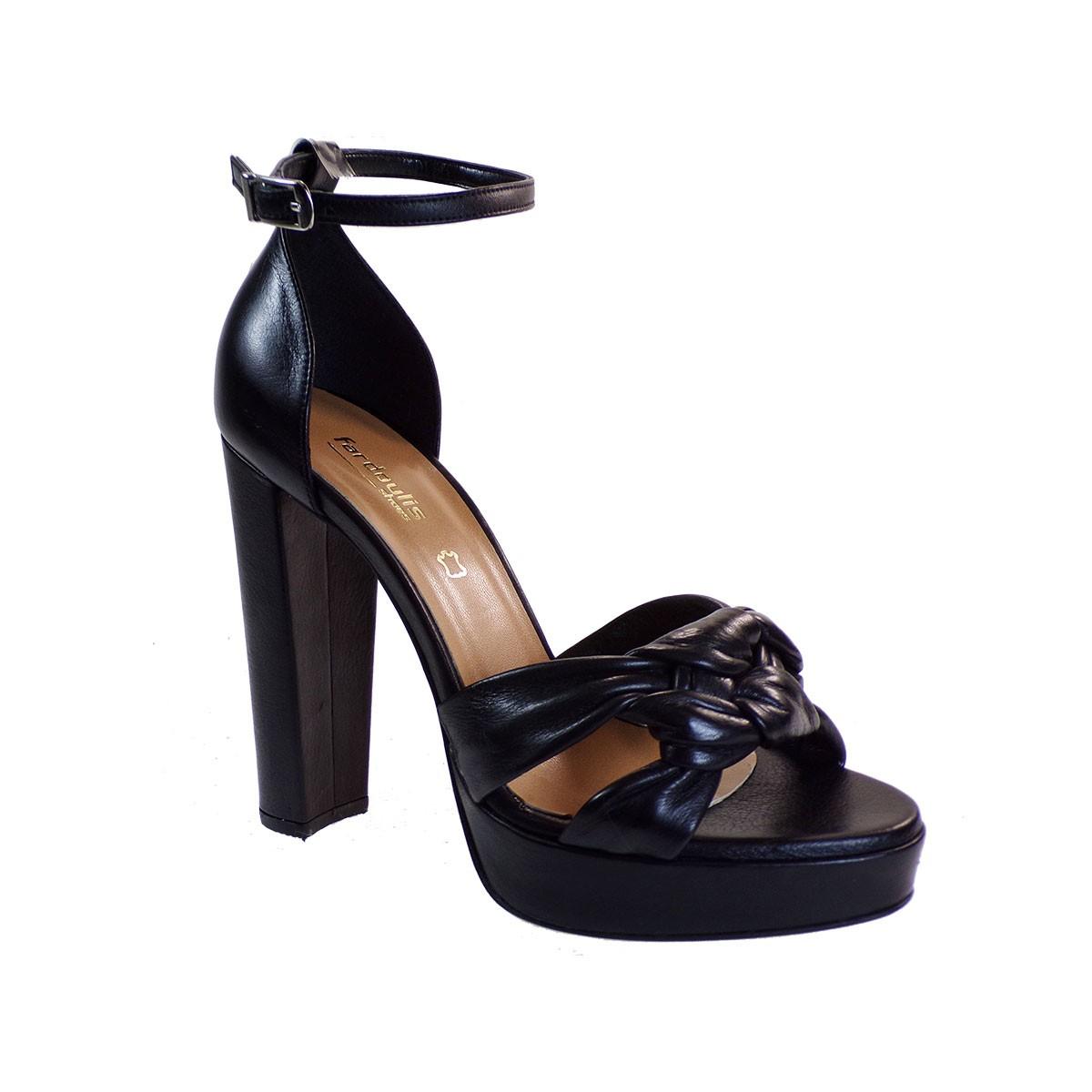 Fardoulis shoes Γυναικεία Παπούτσια Πέδιλα 916-04Χ Μαύρο Δέρμα