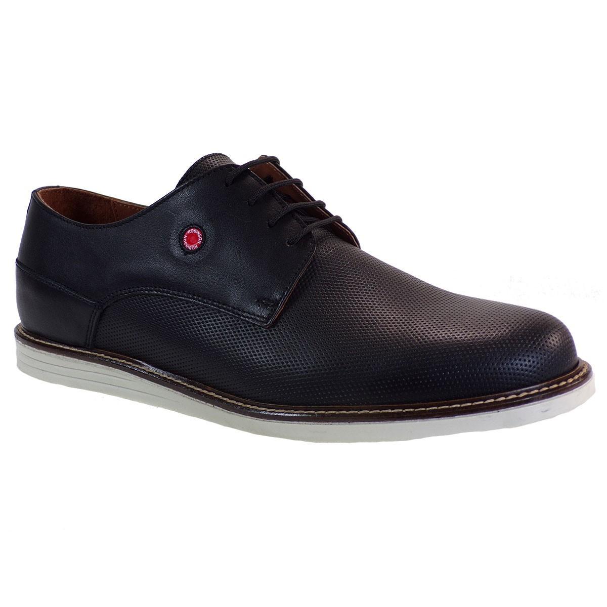 Robinson Ανδρικά Παπούτσια 1927 Mαύρο Δέρμα