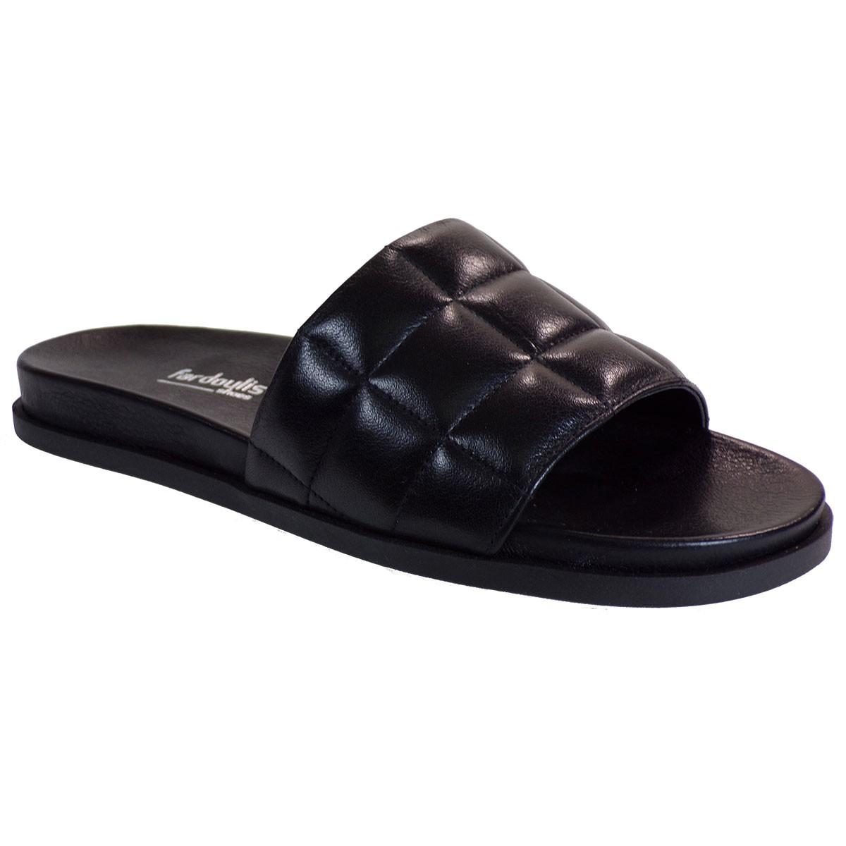 Fardoulis shoes Γυναικείες Παντόφλες 111-47 Μαύρο Δέρμα